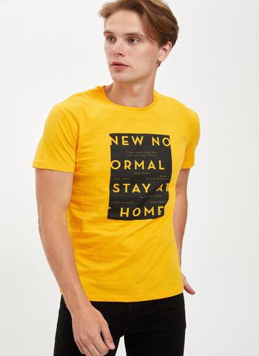 DeFacto Baskılı Slim Fit Bisiklet Yaka Pamuklu Tişört Sarı